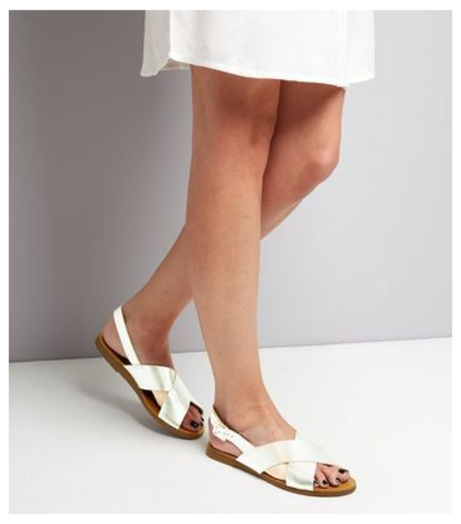 Wide Fit Silver Leather Cross Strap Sandals