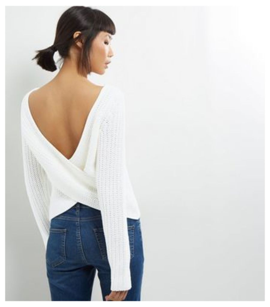 Noisy May White Open Wrap Back Long Sleeve Knitted Top