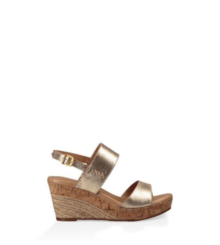 UGG Elena Metallic Womens Sandals Gold 4.5