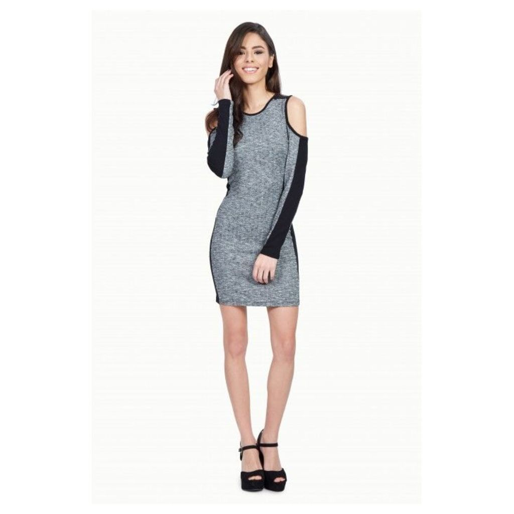 COLD SHOULDER RIBBED LONG SLEEVE BODYCON DRESS