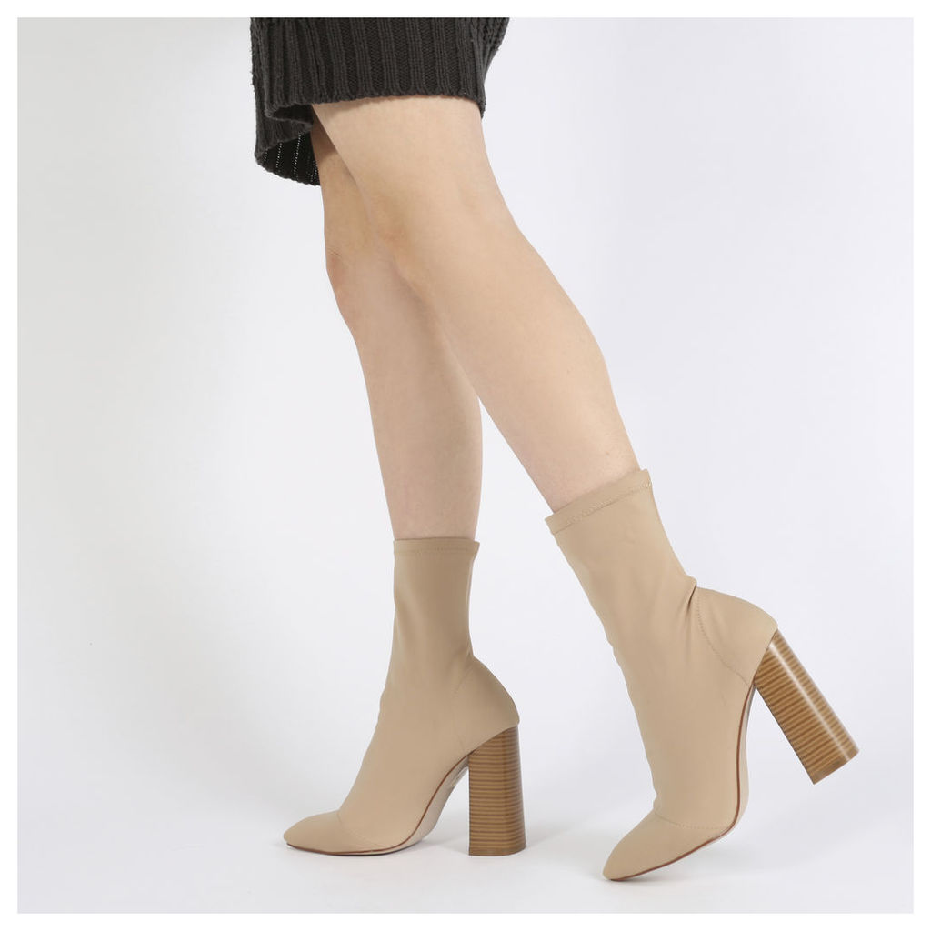 Libby Flared Heel Sock Fit Ankle Boots in Nude Stretch