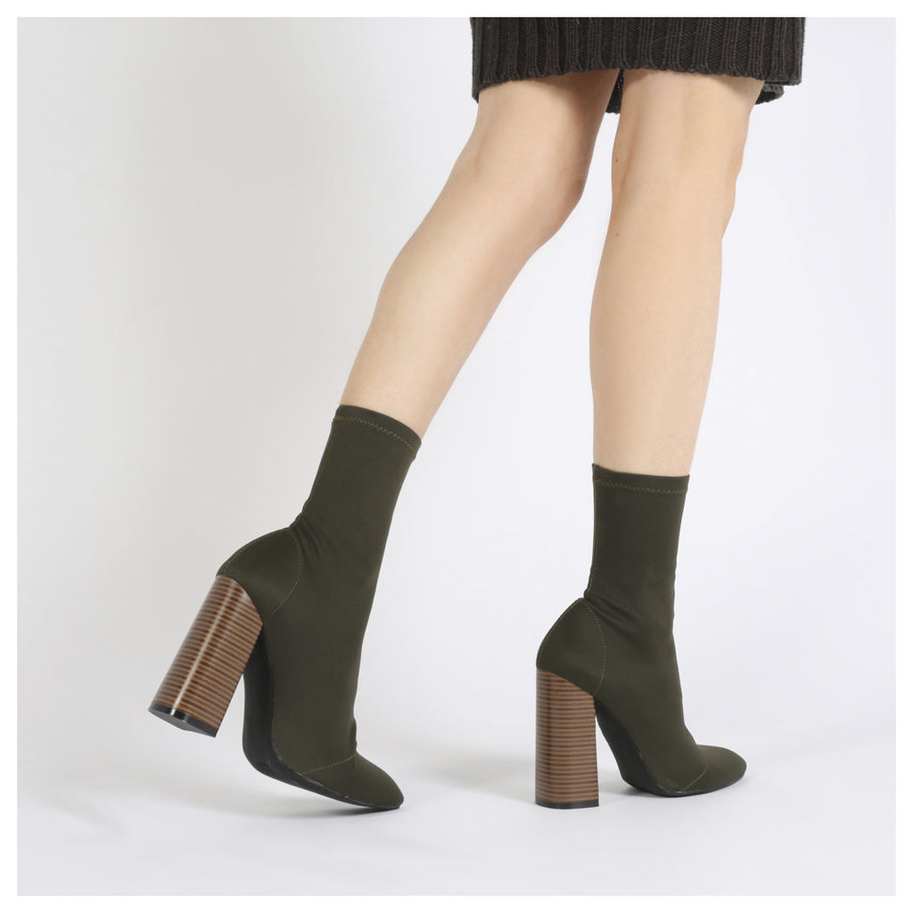 Libby Flared Heel Sock Fit Ankle Boots in Khaki Stretch