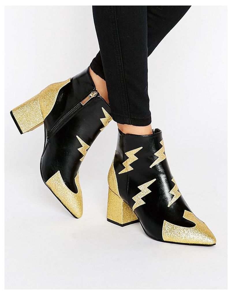 Daisy Street Lighting Heeled Ankle Boots - Black/gold