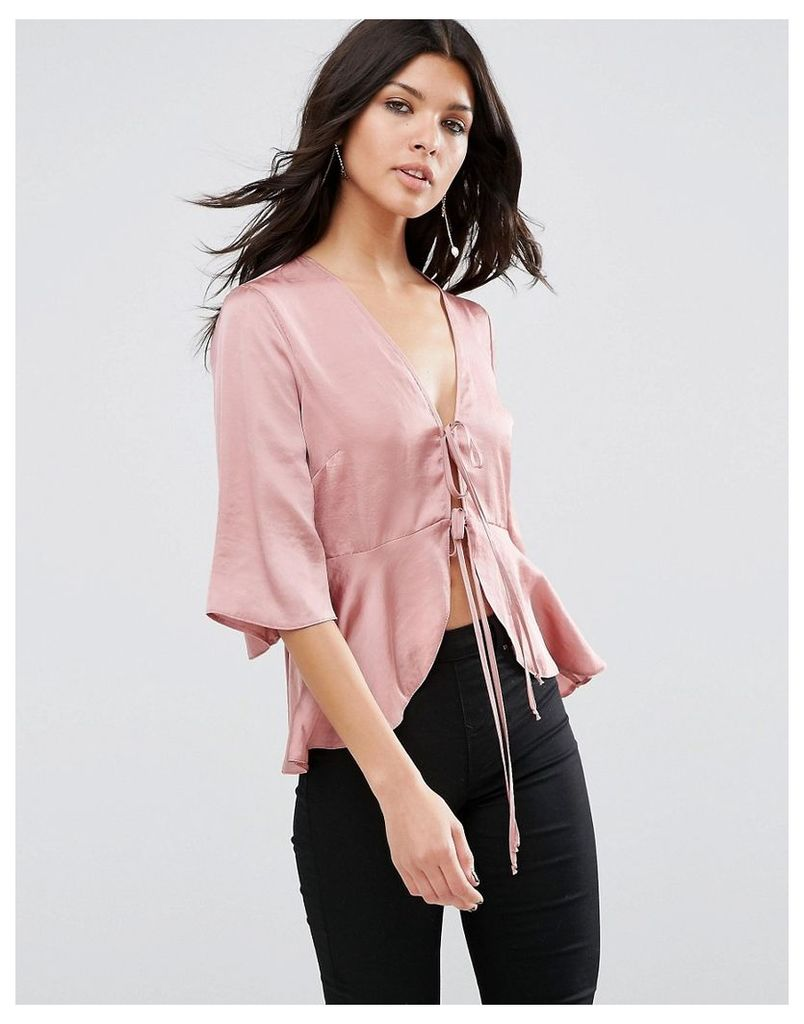 ASOS Satin Drape Tie Front Blouse - Dusty rose