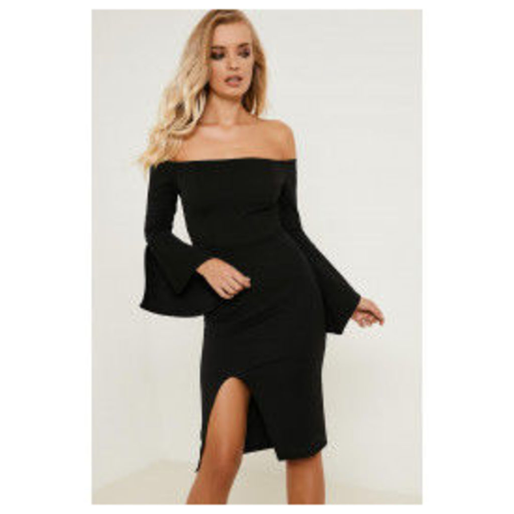 Brand Attic Bardot Frill Sleeve Midi Dress - Black