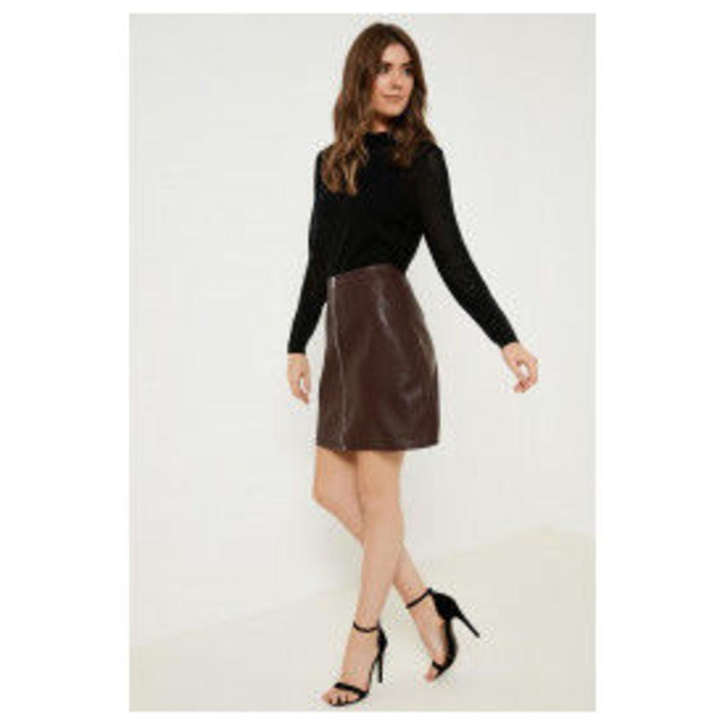 Anita & Green Zip Front PU Skirt - Red
