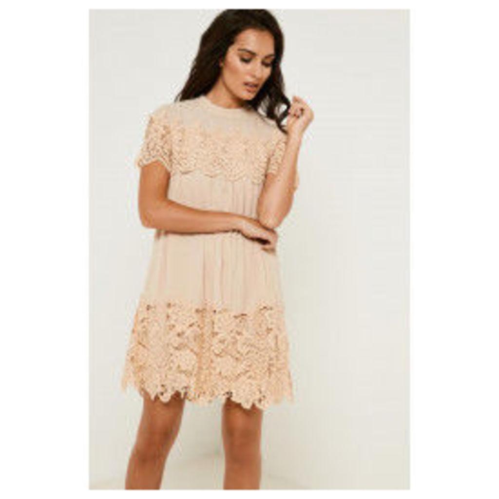 Fashion Union Lace Insert Smock Dress - Pink