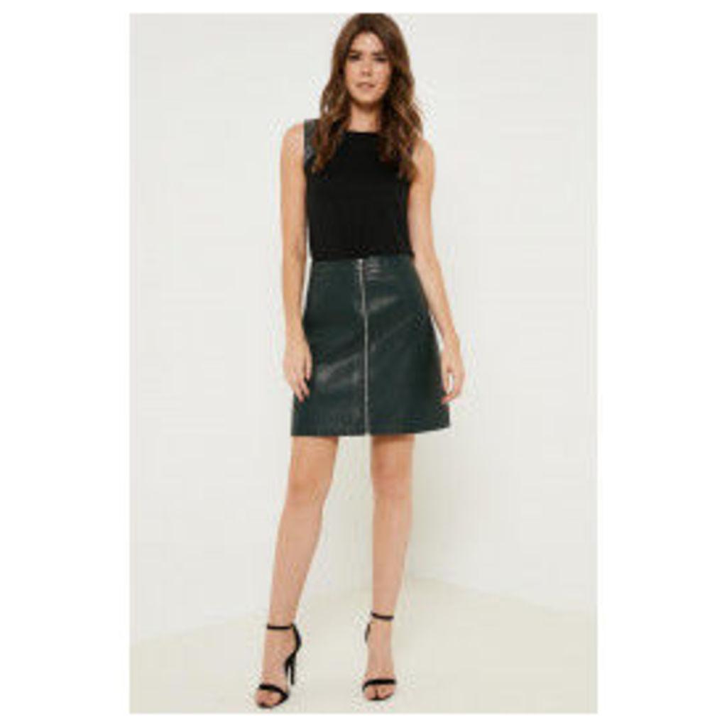 Anita & Green Zip Front PU Skirt - Green
