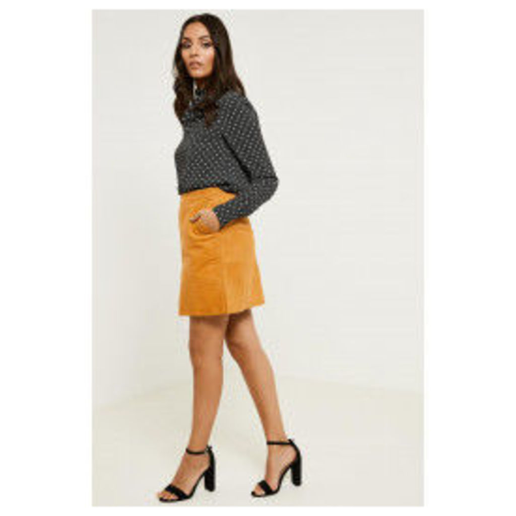 Fashion Union Cord Style A-line Skirt - Yellow