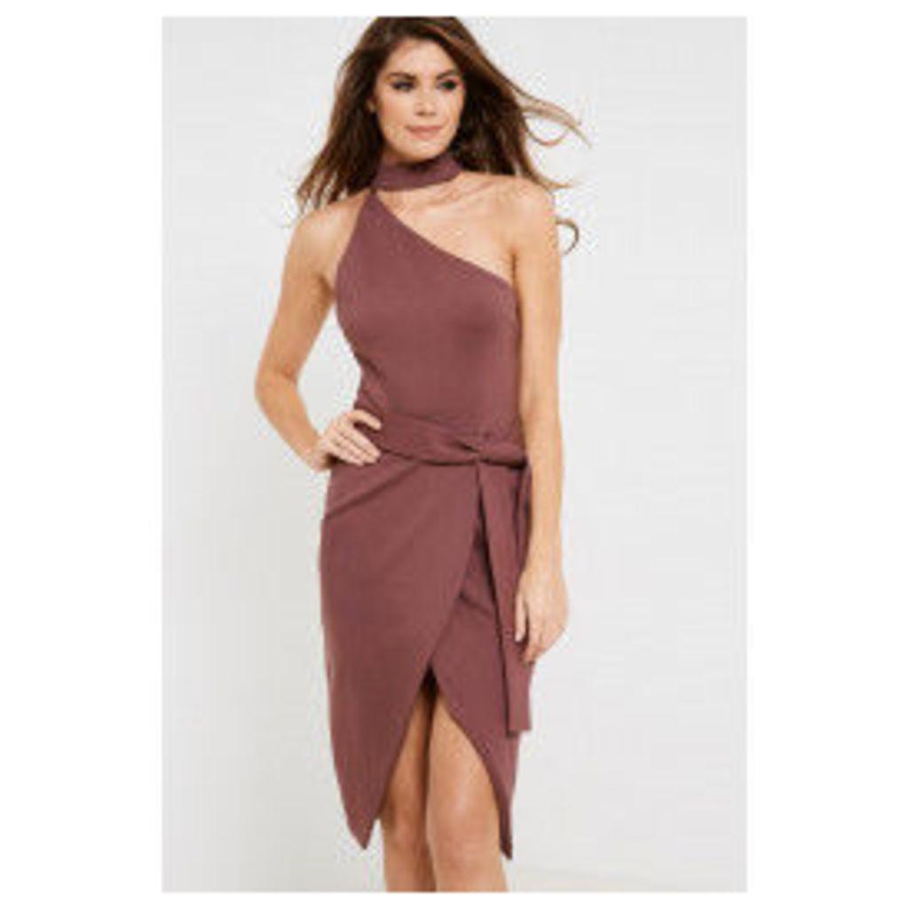 Lavish Alice Asymmetric Halterneck Tie Front Dress - Purple