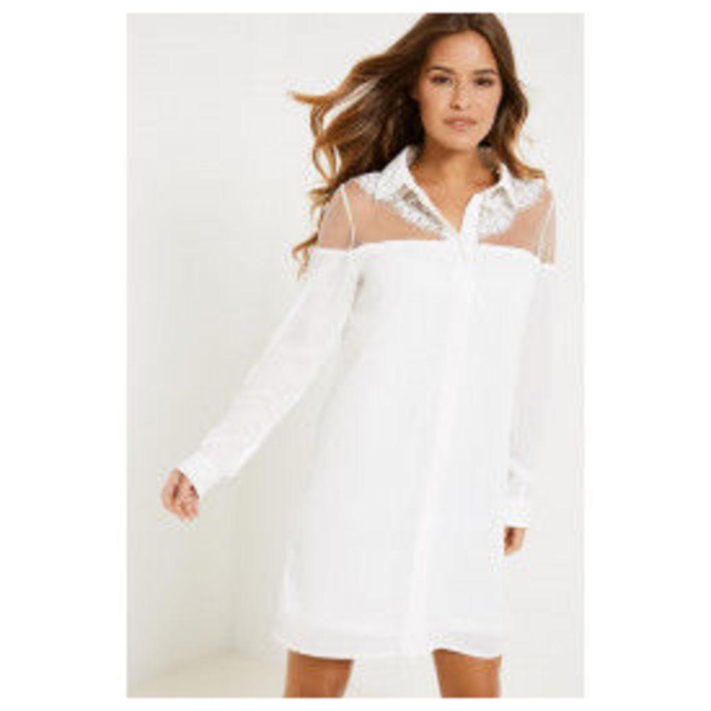 Fashion Union Giselle Sheer Panel Dress - White