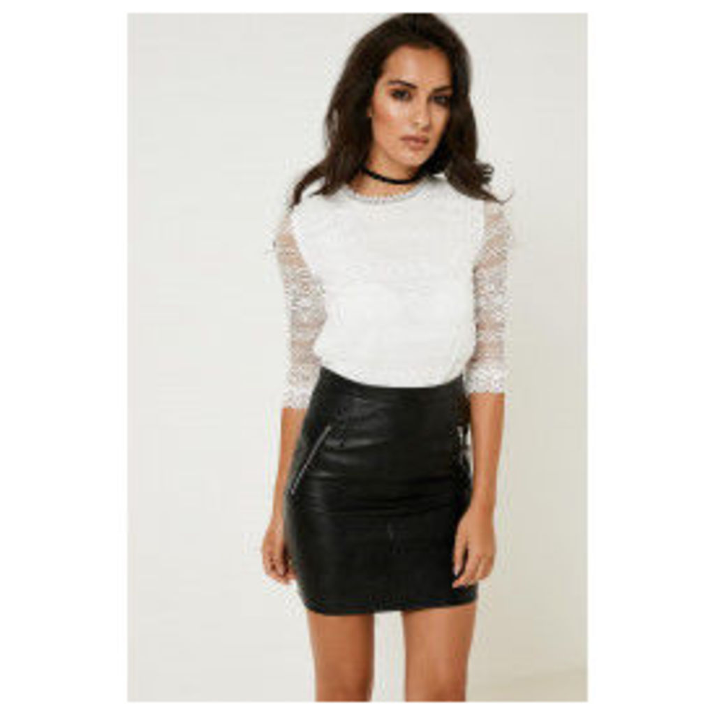 Fashion Union Lace High Neck Top - Off-White