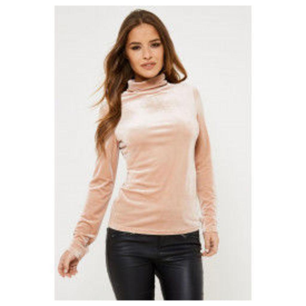 Fashion Union Iman Velvet Top - Pink