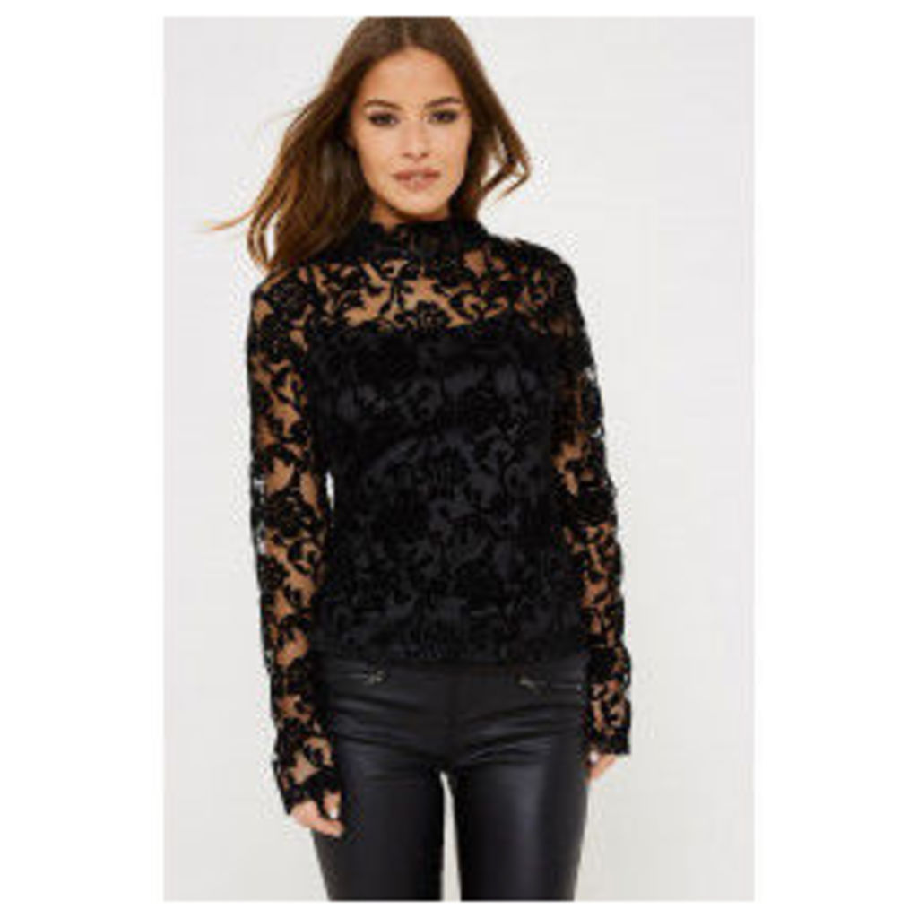 Fashion Union Sheer Floral Quinn Top - Black
