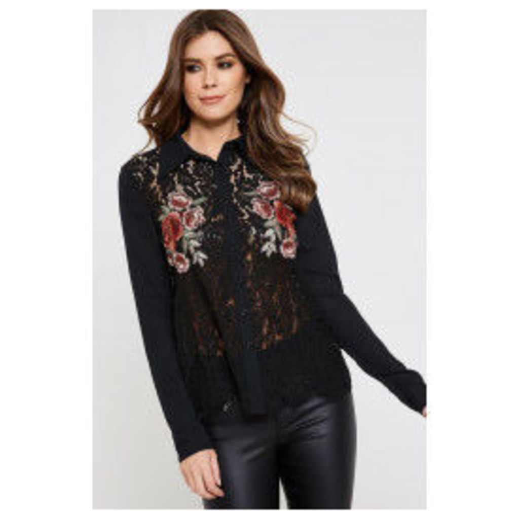 Fashion Union Boo Embroidered Blouse  - Black