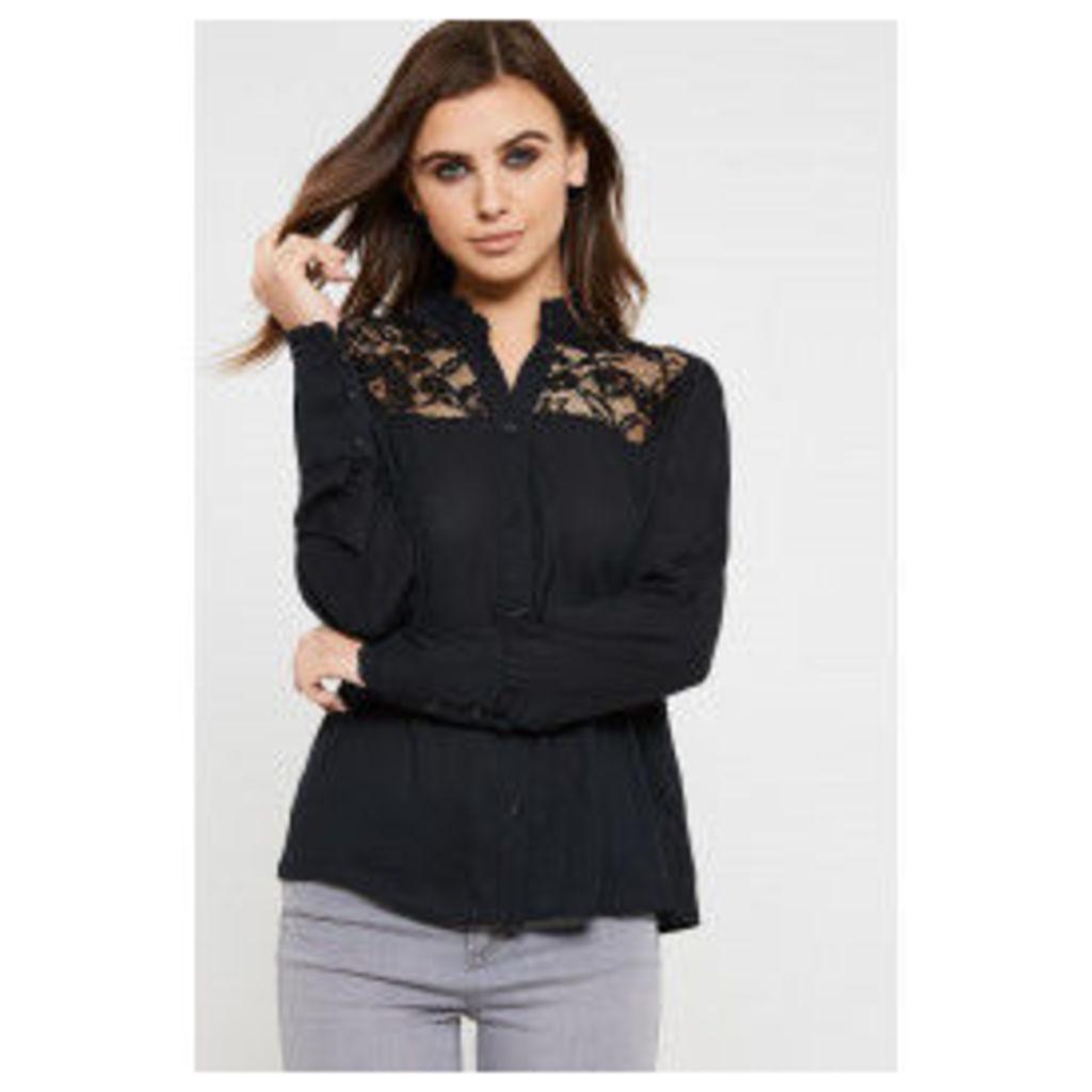 Fashion Union Lace Detail Nelson Blouse - Black