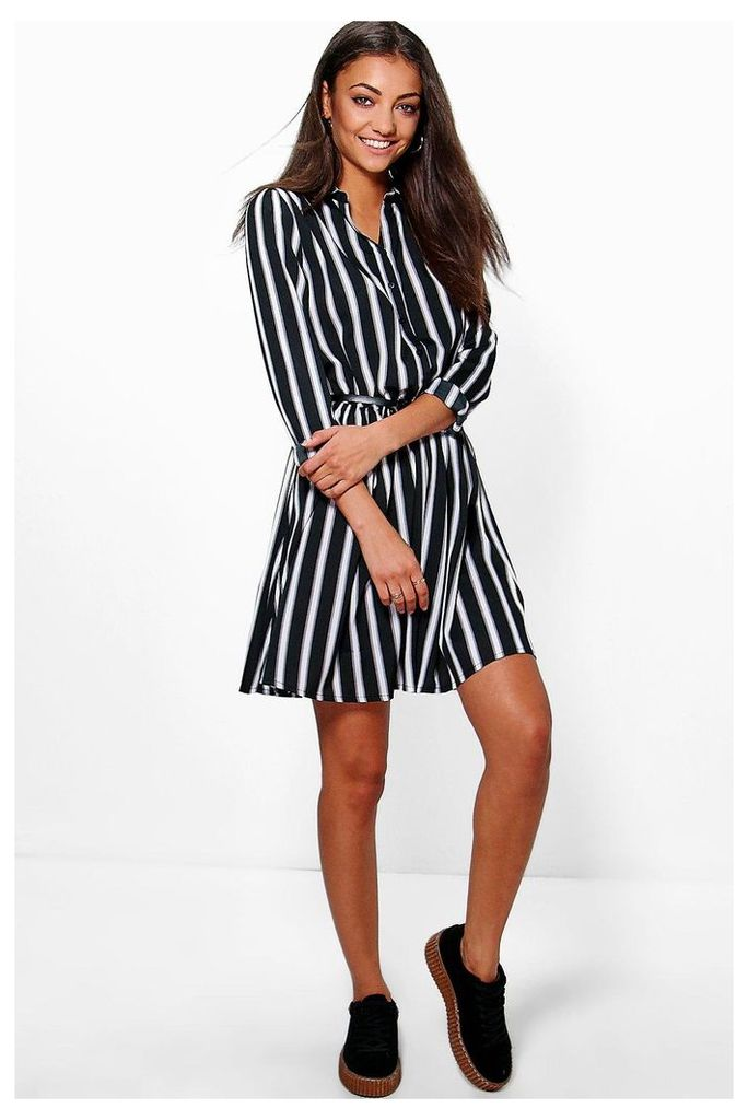 Lisa Woven Stripe Belt Shirt Dress - multi