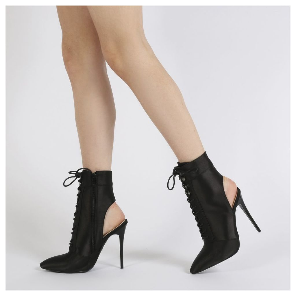 Chyna Cut Out Lace Up Ankle Boots in Black Satin