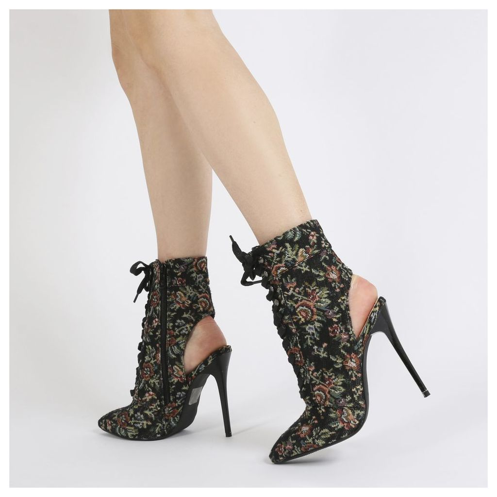 Chyna Cut Out Lace Up Ankle Boots in Floral
