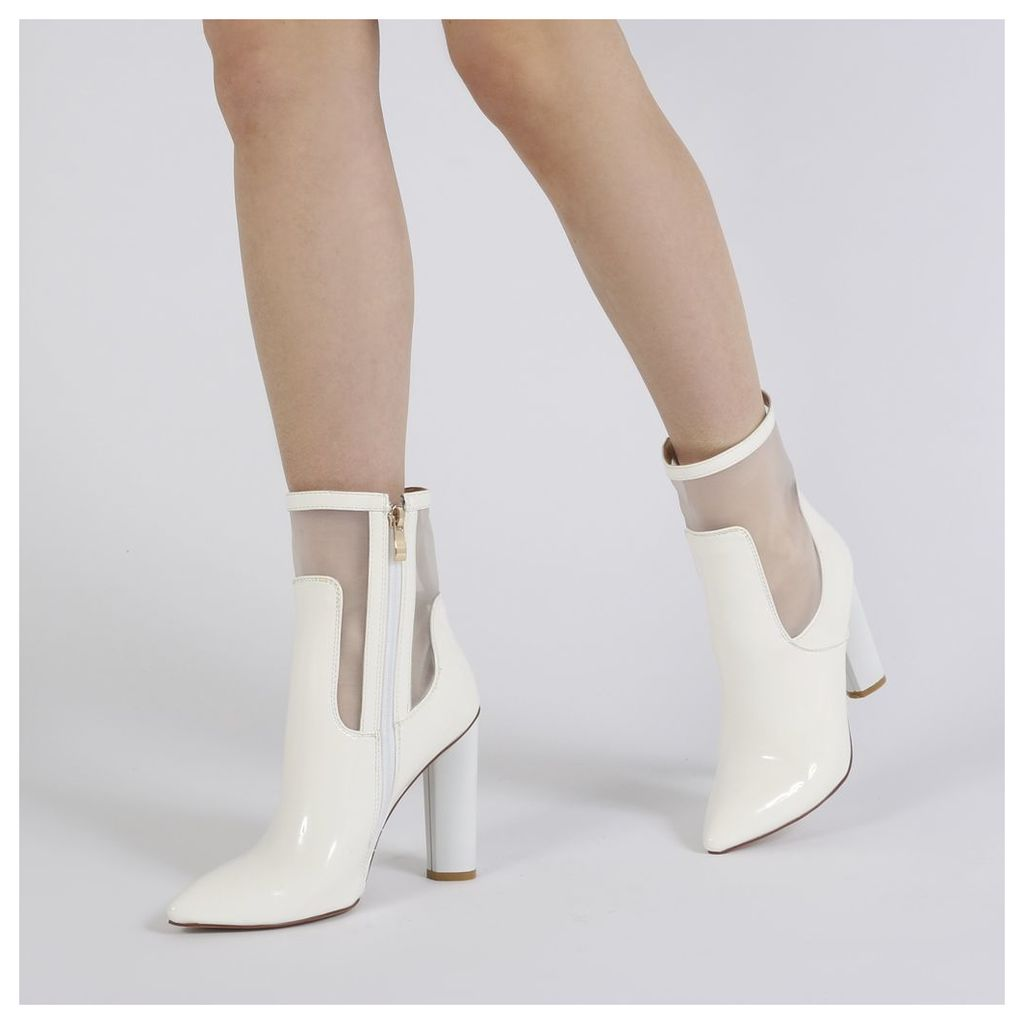 Hadley Pointed Toe Mesh Detail Ankle Boots in White Patent