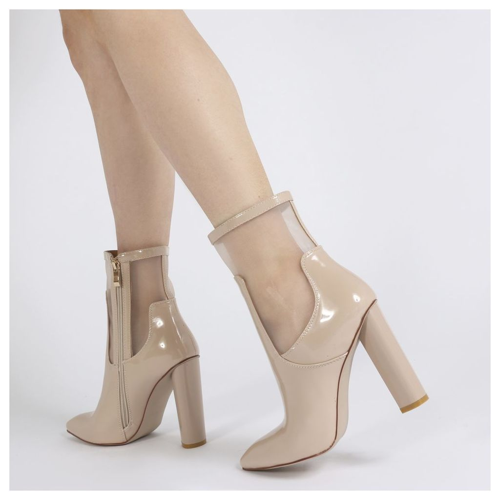Hadley Pointed Toe Mesh Detail Ankle Boots in Nude Patent