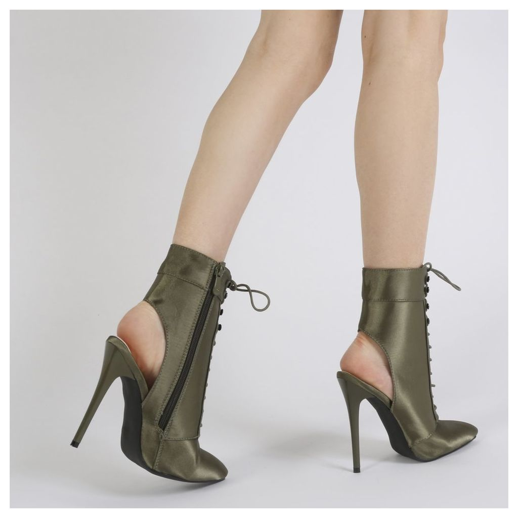 Chyna Cut Out Lace Up Ankle Boots in Khaki Satin