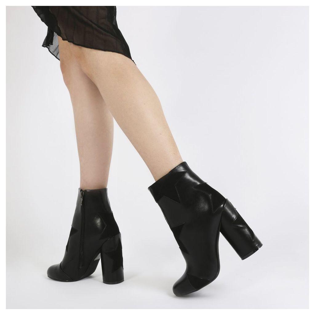 Afra Black Star Print Ankle Boots in Black
