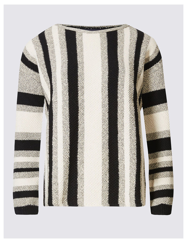 M&S Collection Striped Slash Neck Jumper