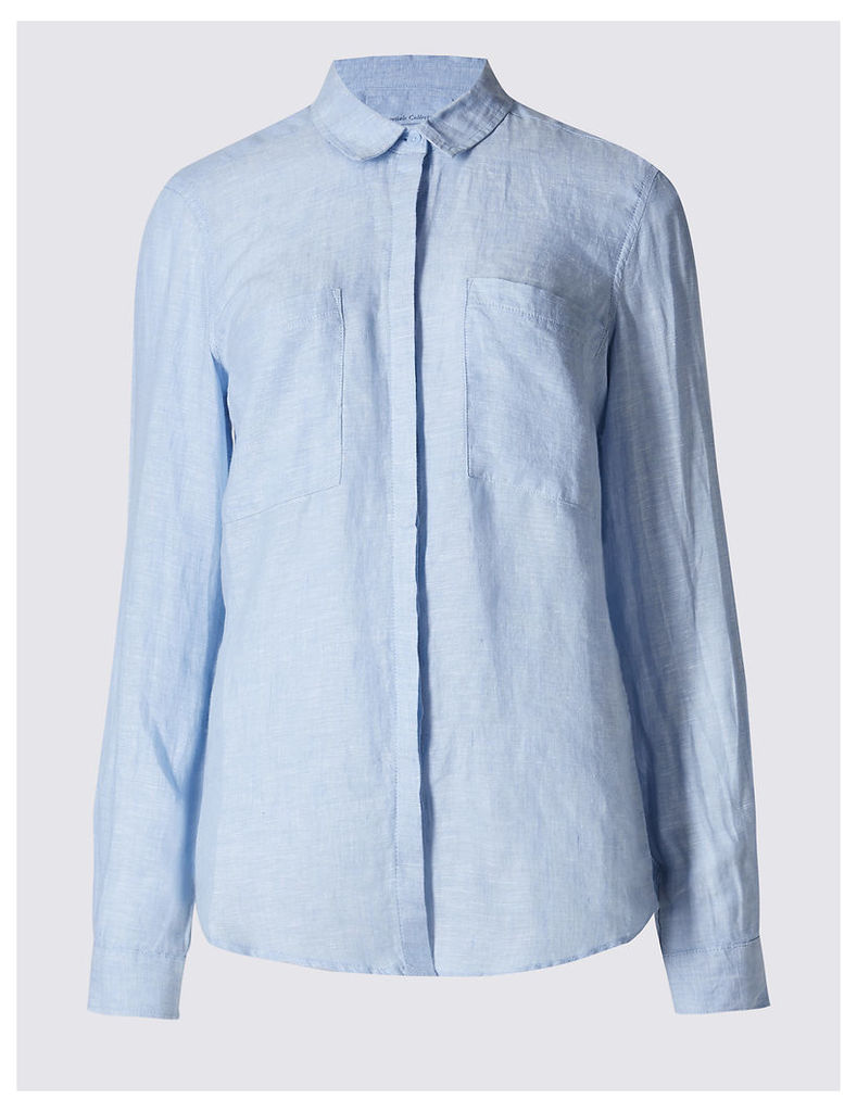 M&S Collection Pure Linen Collared Neck Long Sleeve Shirt