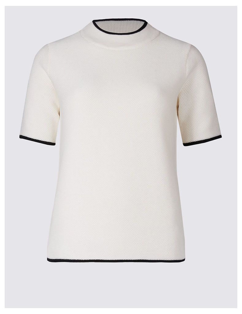 Classic Pure Cotton Turtle Neck Short Sleeve Jumper