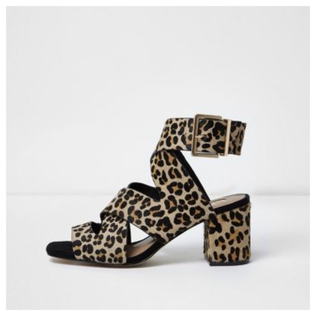 River Island Womens Brown leopard print pony hair sandals