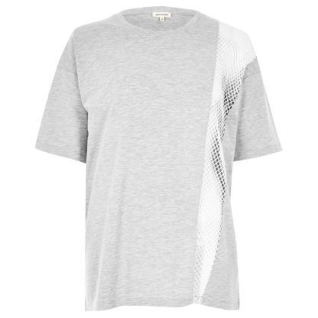 River Island Womens Grey marl mesh panel boyfriend T-shirt
