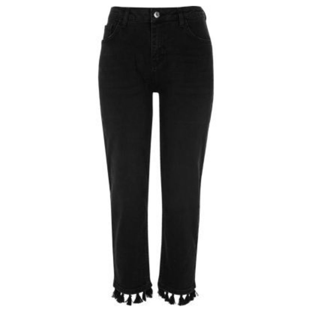 River Island Womens Black straight pom pom hem jeans