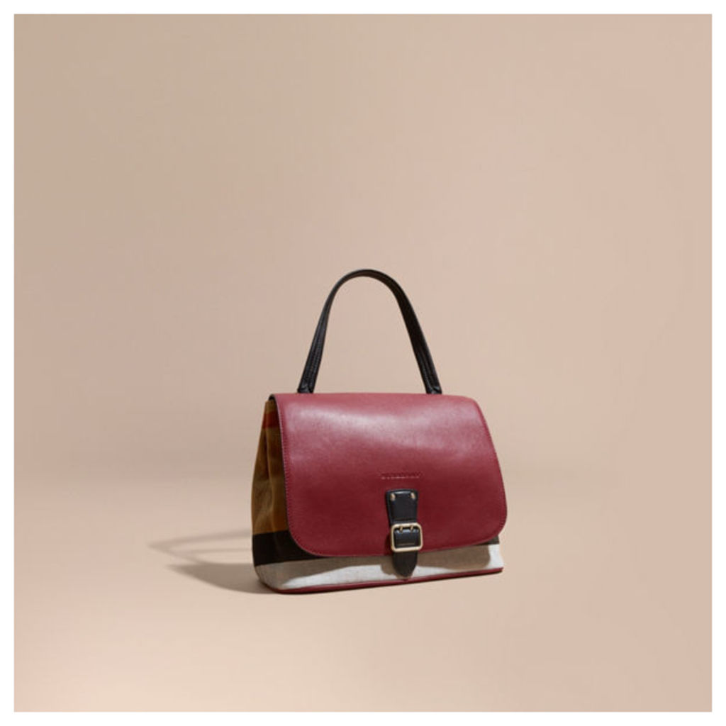 Canvas Check and Leather Shoulder Bag