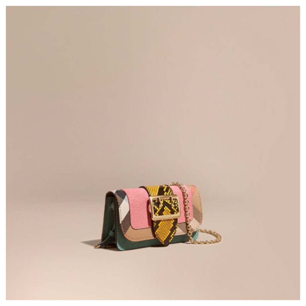 The Mini Buckle Bag in Snakeskin and House Check