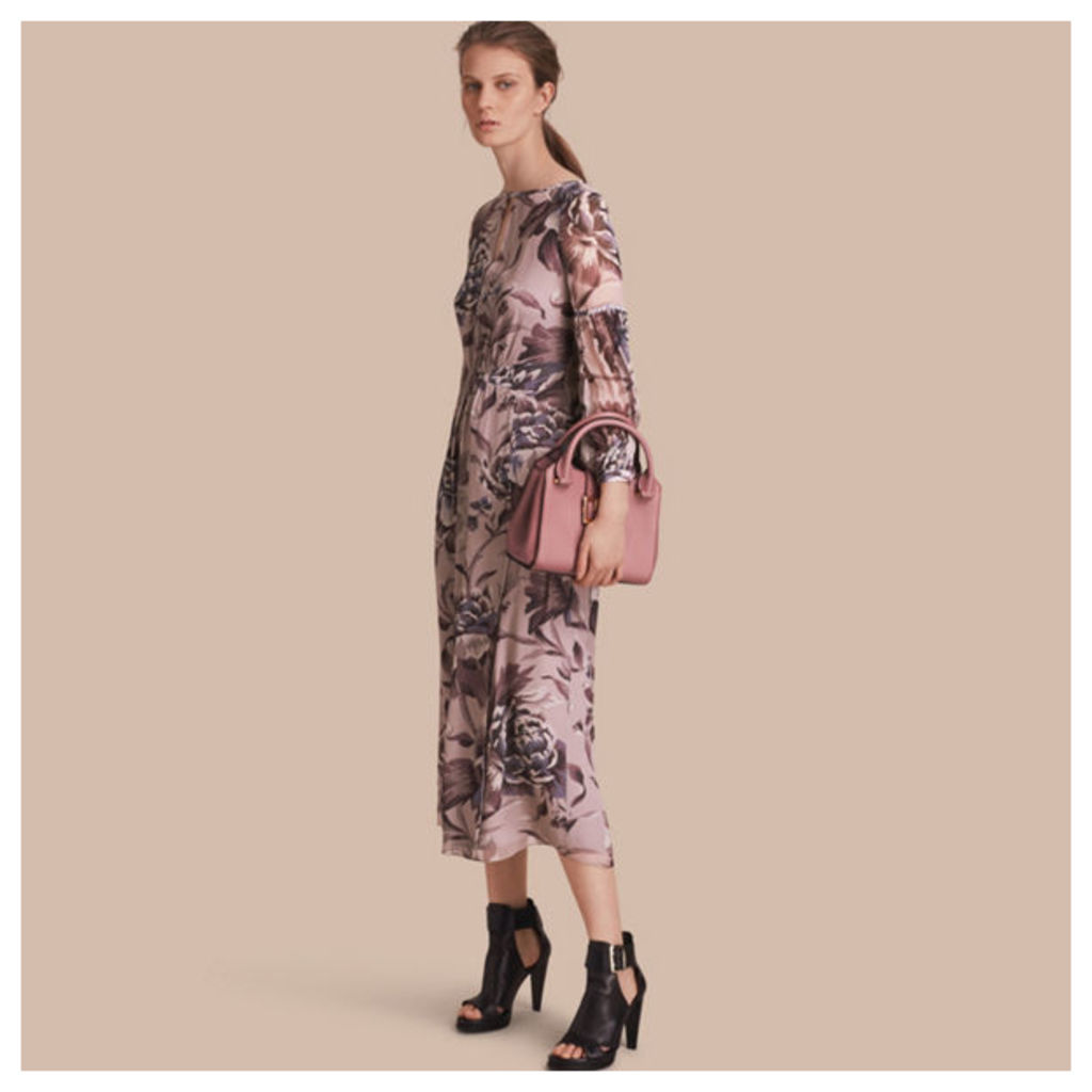 Peony Rose Print Silk Dress with Puff Sleeves
