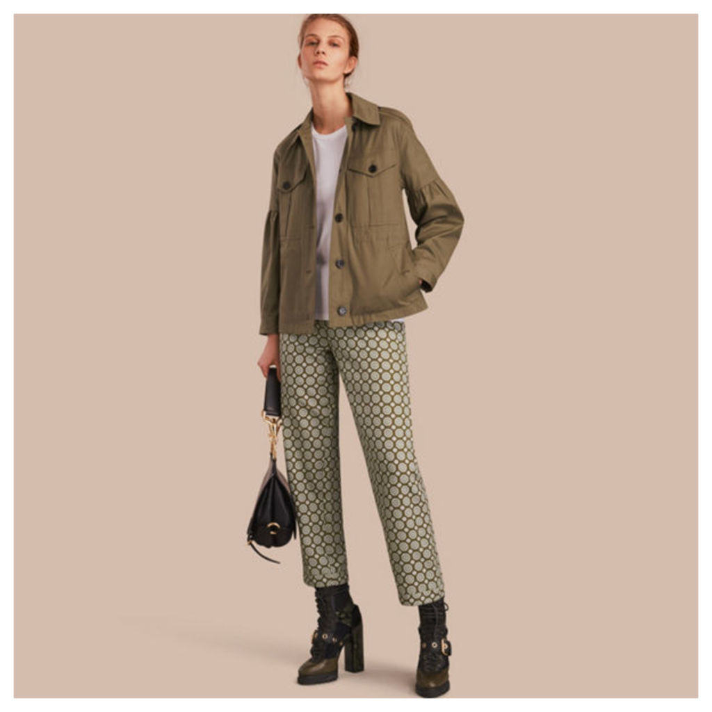 Stretch Cotton Field Jacket with Puff Sleeves