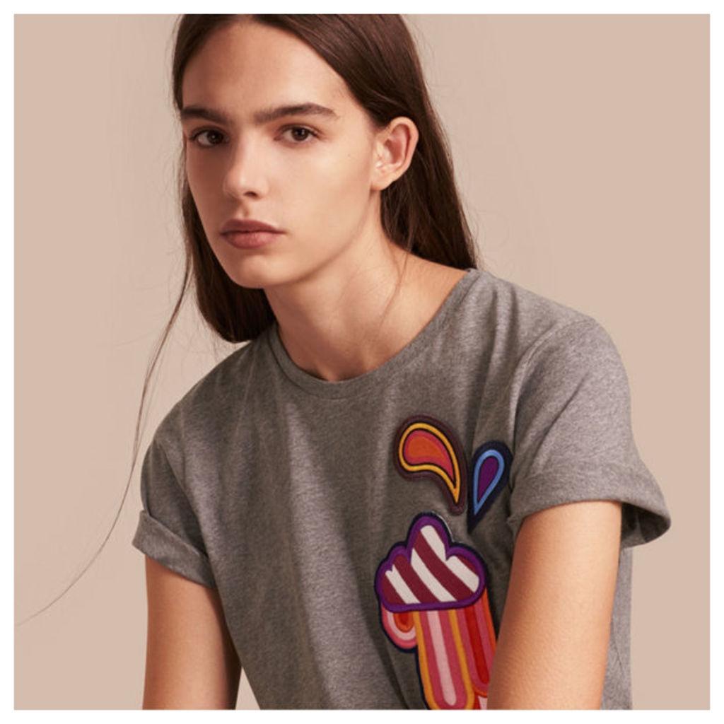 Appliquéd Weather Motif Cotton T-shirt