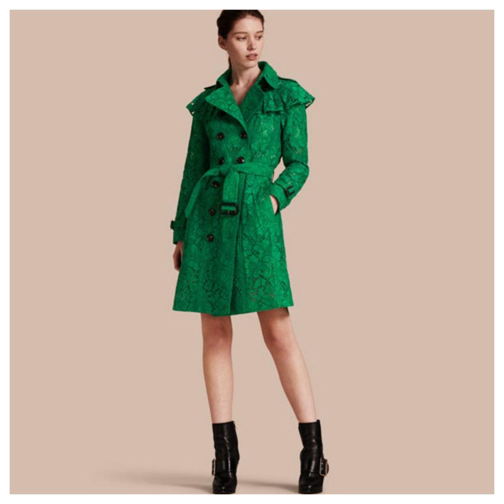 Ruffle Detail Macramé Lace Trench Coat