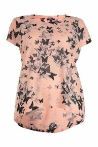 Plus Size Oversized Butterfly Print Top