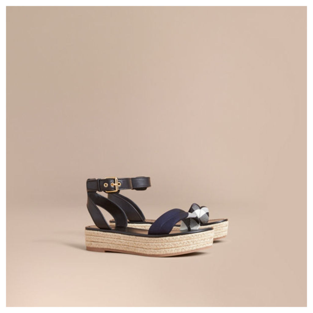 Leather and House Check Espadrille Platform Sandals