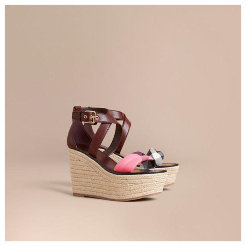 Leather and House Check Platform Espadrille Wedge Sandals