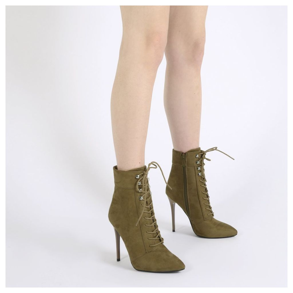 Arabella Hook Lace Up Ankle Boots in Khaki Faux Suede