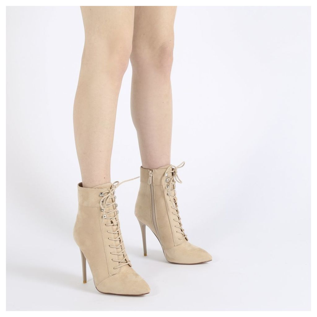 Arabella Hook Lace Up Ankle Boots in Nude Faux Suede