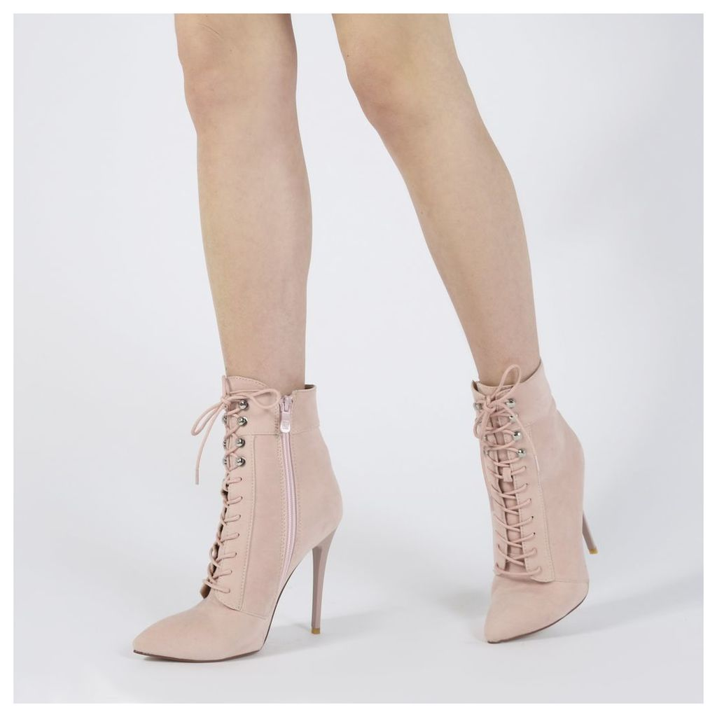 Arabella Hook Lace Up Ankle Boots in Pink Faux Suede