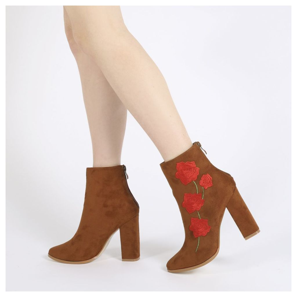 Romeo Rose Embroidered Ankle Boots in Tan Faux Suede