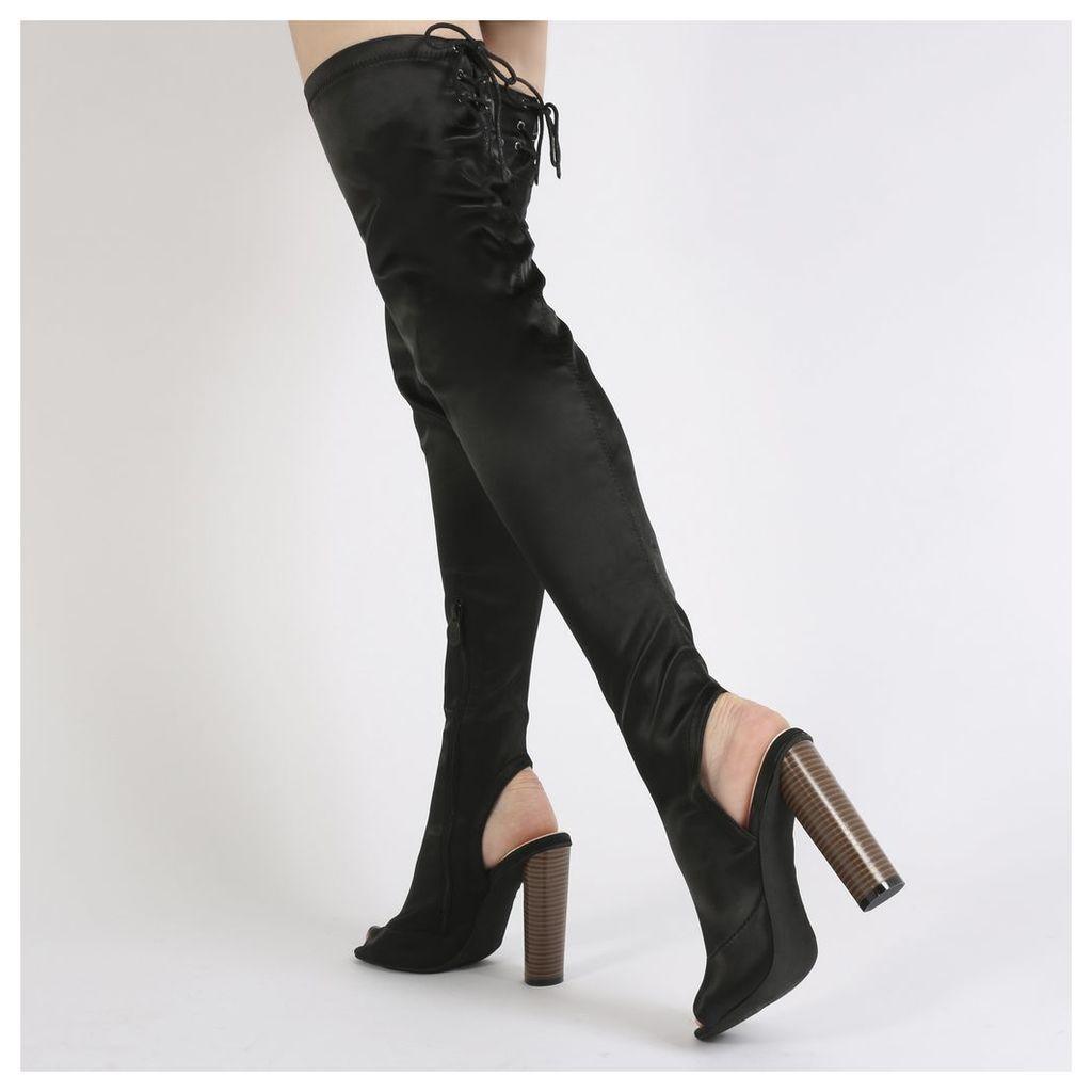 Sidney Peeptoe Sock Fit Boots in Black Satin