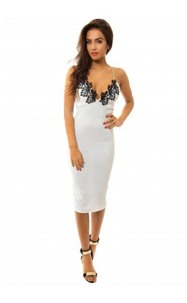 Eisha Lace Trim White Bodycon Dress
