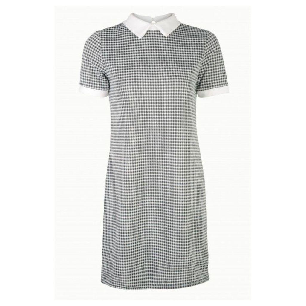 GINGHAM CHECK COLLAR SHIFT DRESS