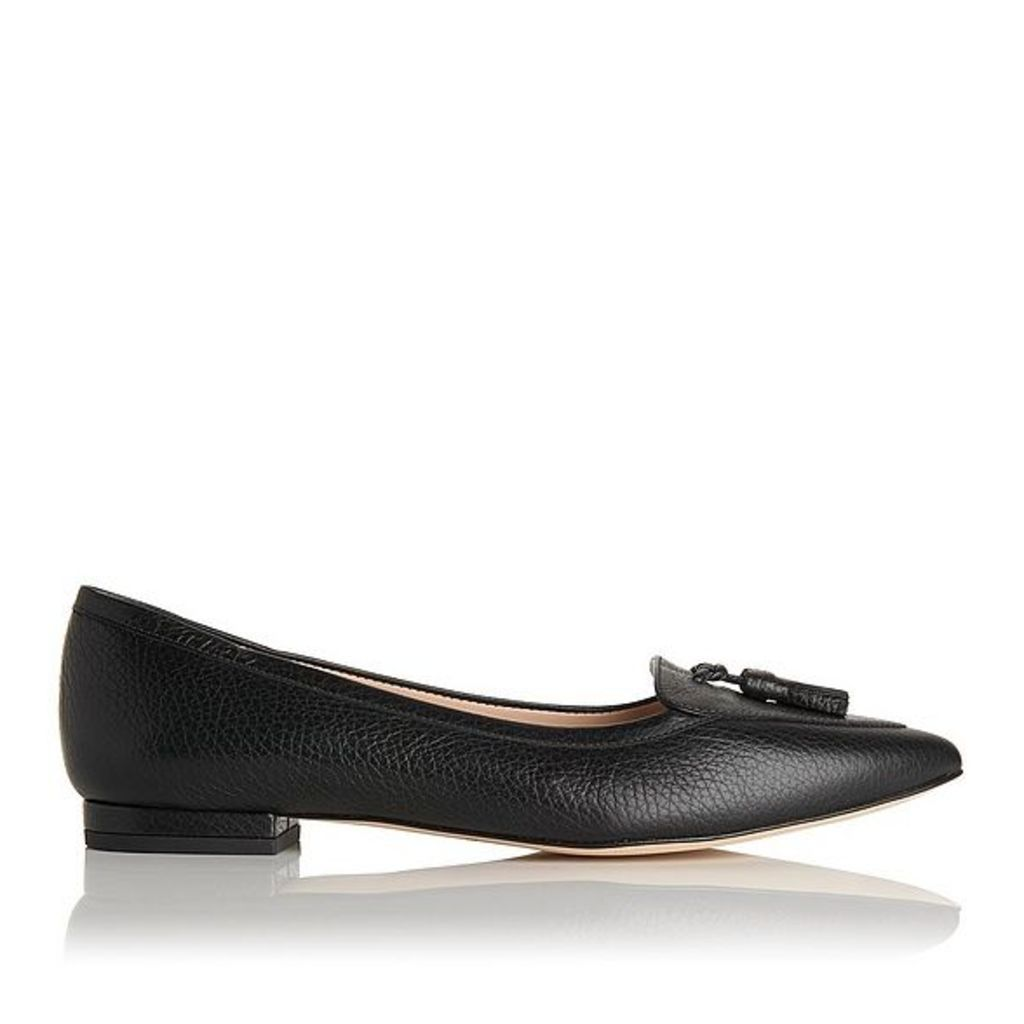 Dixie Black Grained Leather Flats